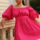 How to wear Puff-sleeved Pink Poplin Dress
