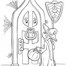 A Young Girl Knocking On Old Door House On Halloween Day Coloring Page