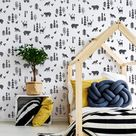 NORDIC FOREST STENCIL - Nordic Scandinavian Nursery Repeat Wallpaper Effect Wall Furniture Craft Stencil for Painting - NORD03