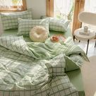 Plaid Duvet Cover Green Bedding Set Plaid Comforter Cover Mint Green Queen Duvet Cover King Duvet Co