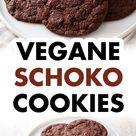 Einfache vegane Schoko Cookies   Weiche Schokocookies ohne Ei   Schnelles Rezept