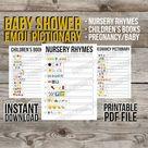 Nursery Rhymes Emoji Pictionary Game, Emoji Guessing Game, Nursery Rhyme Baby Shower Game, Printable