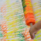 Art Activities for kids  Rolling Pin Yarn Prints
