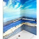 Inspiration Badezimmer mit einer Duschrückwand Ostsee 3 als Badgestaltung der Dusche