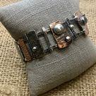 SOLD//SOLD//              Cuff bracelet sterling copper spinel gemstones unique ooak