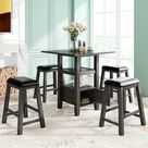 5-Pieces Counter Height Wood Dining Table Set With 4 Stool,Square,MDF (Grey), Gray