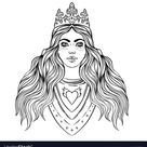Portrait beautiful girl with a crown female vector image on VectorStock