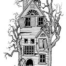 My Childhood Halloween Memories: Inspired this Haunted House Pen and Ink