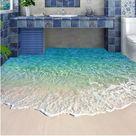 Beautiful Blue Water Beach Scene Floor Wallpaper Mural Self-adhesive PVC