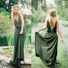 Boho V Neck Oilve Green Long Bridesmaid Dresses for Wedding Party