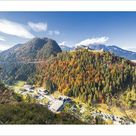 25cm Photo. View of the old Ehrenberg Castle surrounded by colorful woods and suspension bridge