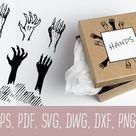 A set of black and white ink-drawn monsters hands. (976207)   Illustrations   Design Bundles