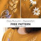 Cosy Autumn Sweatshirt | Spray of Flowers Embroidery Pattern | Free Pattern