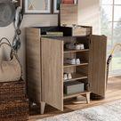 Baxton Studio Fella Mid-Century Modern Two-Tone Oak Brown & Dark Gray Entryway Shoe Cabinet w/ Lift-Top Storage Compartment- SESC7008-Hana Oak-Shoe Ca