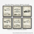 BMW Automobile Set of 6 Patent Art Prints   BMW Poster Set   BMW Inventions   Car Guy Gift   Classic