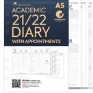 PRINTED A5 Academic 2021-2022 Week on two pages diary organiser Insert Filofax A5 Kikki.K Large Compatible Refill Wo2p