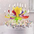 Upgrade Multicolor Rotating Lotus Cake Candle   Buy 1