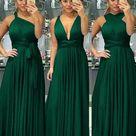 green bridesmaid dresses long chiffon convertible cheap infinite wedding guest dresses vestido de Longo   US16W / PICTURE COLOR