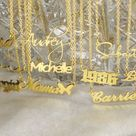 18K Gold Name Necklace / Personalized Necklace / Necklace With Name / Name Plate Necklace / Name Jew