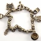 Vintage 6 Charms Baby Cup Butterfly Cup Purse Flower Bracelet 925 Silver Br 1770