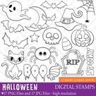 Halloween elements  Digital stamps   Etsy