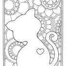 Free cat mindful coloring pages for kids & adults - TSgos.com