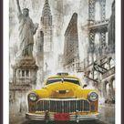 Taxi New York Counted Cross Stitch Pattern | Large Cross Stitch Chart | Statue of Liberty | Cross Stitch Car | Cross Stitch City | Printable