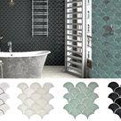 Fächer Mosaik Fliese Keramik weiss steingrau petrol schwarz glänzend| FOGGIA • EUR 5,90