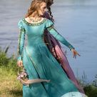 """Medieval cotton dress with puffed sleeves """"Water Flowers"""""""