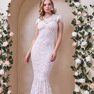 Goddiva Lace Cap Sleeve Maxi Wedding Dress   White