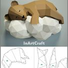 PDF Papercraft Bear on a cloud, Paper Craft 3D origami kit, 3D Papercraft animal, DIY paper model