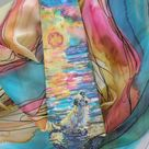 Custom silk set: hand painted silktie and matching silk scarf made to order. A personal and unique gift for a couple
