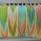 CLEARANCE Abstract Chevron Outdoor Pillow Cover Patio Porch Decorative Throw Accent Pillow Cushion Zig Zag Green Yellow Blue Orange