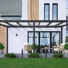 Alu Terrassenüberdachung freistehend in anthrazit 3x4m mit Glas