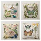Floral Butterfly Pillow Case|Bird Pillow Cover|Decorative Floral Insect Cushion Case|Housewarming Boho Pillow|Farmhouse Porch Cushion Cover