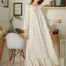 Ditsy Floral Ruffle Hem Dress - M / Beige