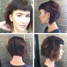 Short Angled Undercut Bob with Messy Waves and Baby Fringe Bangs - The Latest Hairstyles for Men and Women (2020) - Hairstyleology