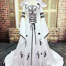 W3422 Robe De Mariage, 2021 Medieval Wedding Dress, Custom Made Bridal Dresses,Unique Embroidery A-Line White Wedding Dresses
