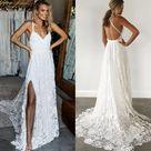 Straps Long Lace Wedding Dresses, Charming Lace Beach Wedding Dresses UQ2274