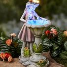 Solar Girl Bird Bath Sculpture