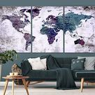 Modern Abstract Grunge World Map Push Pin Travel Map Wall Art Canvas Print for Office and Living Room Decoration - Ready to Hang   3 Size   Ready to Hang