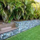 Gabionen Gartengestaltung Ideen für Zaun mit Steinen, Holz, Glas gefüllt