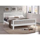 Turin Squared Wooden Frame Bed with Slatted Details - Single (3ft) / Grey