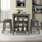 3 Piece Square Dining Table With Padded Stools, Table Set With Storage Shelf