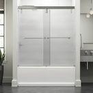 Delta Lyndall 60 In. X 59-1/4 In. Mod Semi-Frameless Sliding Bathtub Door In Bronze & 3/8 In. (10Mm) Rain Glass in Gray, Size 58.1103 H in | Wayfair