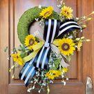 Sunflower Wreath, Sunflower Decor, Summer Wreath, Sunflower Wreaths for Front Door, Door Wreath, Welcome Wreath