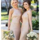 """Sorella Vita   Sequin Bridesmaid Dress A perfectly glamorous addition to any bridal party, this on-trend high neck sheath silhouette dress is ultra flattering. Sleeveless with a built in bra and fully lined. The back of this sparkling matte sequin gown features unique draping, a flirty keyhole, a concealed zipper and a rear center slit.  100% Polyester Color: Blush Gold THIS ITEM HAS BEEN ALTERED! Pit to pit: 14"""" Waist Flat: 13""""  Length neckline to hem: 56"""" Rear length from top: 62"""" (Measurements are approximate) SORELLA VITA Dresses"""