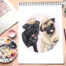 Custom Pet Hand-Painted Portrait- Colourful Pet Painting Gift Memorial Custom gift- Portrait From Photo, Realistic Acrylic Pet Lover dog mom