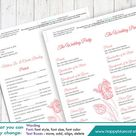 DiY Printable Program Wedding Template - Instant Download - EDITABLE TEXT -Blush Tulip 4