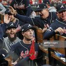 Atlanta Braves Dallas Keuchel and Max Fried victorious in dugout...